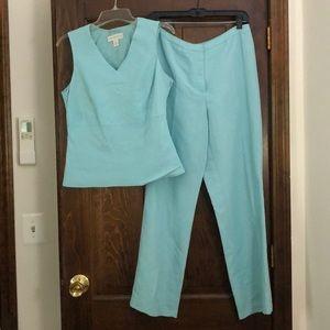 Petite Sophisticate Aqua Linen Pant Suit Sz 8 & 10